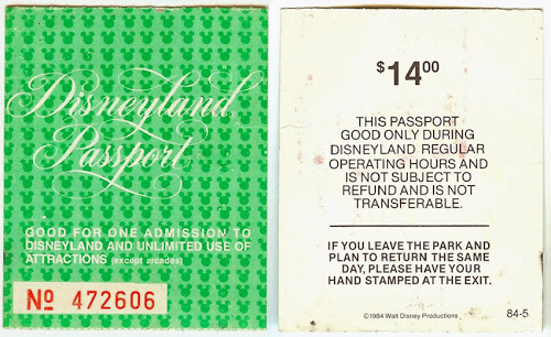 Disneyland Passport: 1984